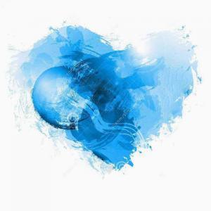 蓝色水墨爱心纹身手稿图片