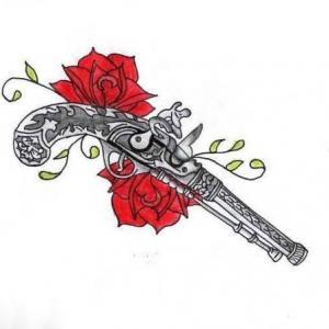 手枪玫瑰纹身手稿图片