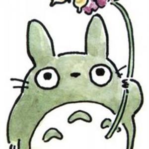 可爱拿花龙猫纹身手稿图片