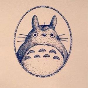 黑灰龙猫纹身手稿图片