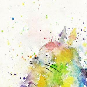 七彩水彩龙猫纹身手稿图片
