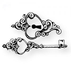 情侣宫廷复古钥匙.锁纹身手稿图片