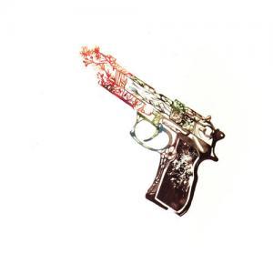 文艺小清新花朵手枪纹身手稿图片