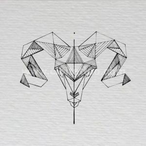 艺术几何白羊座纹身手稿图片