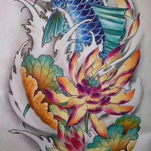 蓝色锦鲤纹身手稿图片