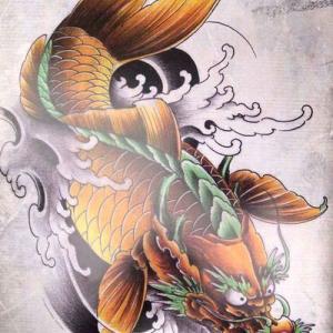 彩色鳌鱼纹身手稿图片