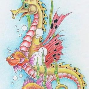 彩色可爱海马与小丑鱼纹身手稿图片