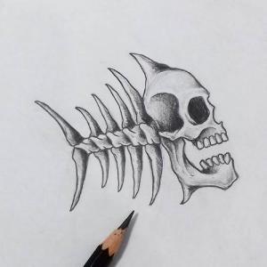 创意骷髅.鱼骨纹身手稿图片