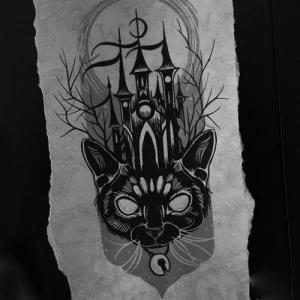 黑灰猫咪城堡纹身手稿图片