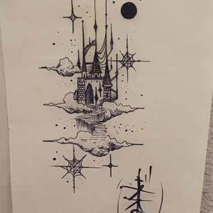 空中唯美黑灰城堡纹身手稿图片