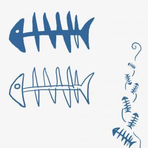 鱼骨纹身手稿图片