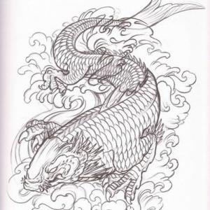 线条鳌鱼纹身手稿图片