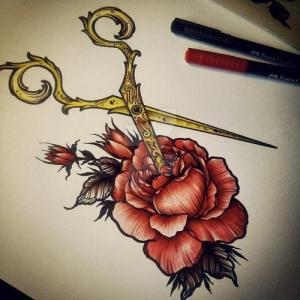 金色剪刀玫瑰纹身手稿图片