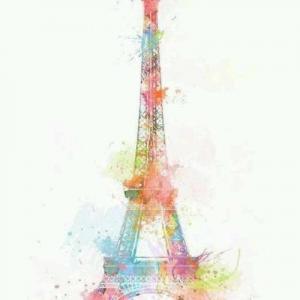 彩色唯美埃菲尔铁塔纹身手稿图片
