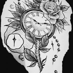 玫瑰钟表月亮纹身手稿图片