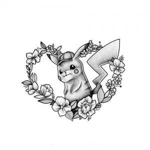 爱心花环皮卡丘纹身手稿图片