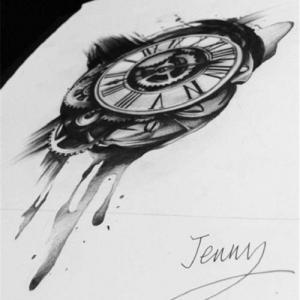 写实钟表纹身手稿图片