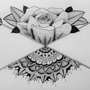 黑灰素描点刺创意花朵扇子纹身手稿图片