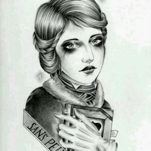 黑灰女人肖像纹身手稿图片