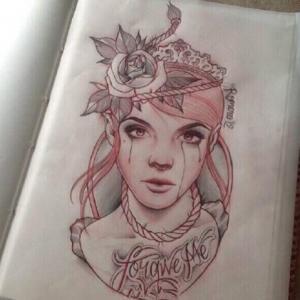 彩色人物肖像纹身手稿图片