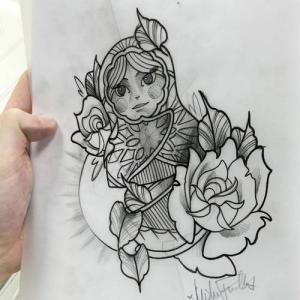 俄罗斯套娃玫瑰花纹身手稿图片