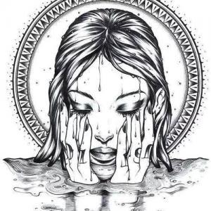 欧美美女肖像纹身手稿图片