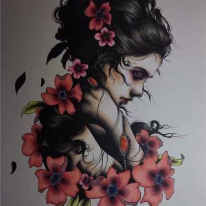 欧美美女花朵肖像纹身手稿图片