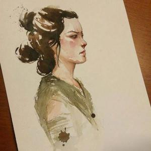 水墨女性肖像纹身手稿图片