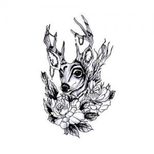 玫瑰梅花鹿纹身手稿图片