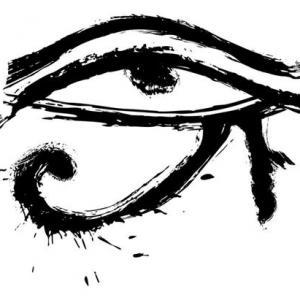 水墨荷鲁斯之眼纹身手稿图片