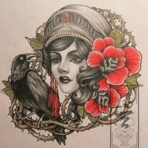 欧美school女人肖像玫瑰纹身手稿图片