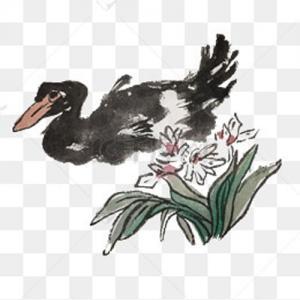 水墨鸭子纹身手稿图片