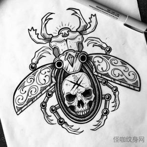 newschool 骷髅甲虫纹身手稿图片