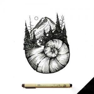 创意蜗牛山树纹身手稿图片