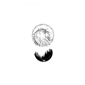 圆形黑白水墨纹身手稿图片