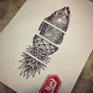 个性点刺鱼和菠萝纹身手稿图片