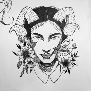 牛角美女木槿花纹身手稿图片