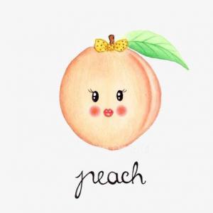 卡通可爱表情桃子纹身手稿图片