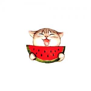 可爱猫咪西瓜纹身手稿图片