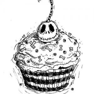 蛋糕骷髅头纹身手稿图片