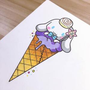 冰淇淋卡通狗狗纹身手稿图片