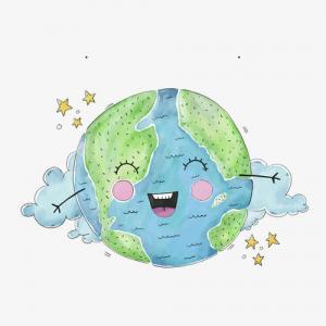 卡通可爱地球纹身手稿图片