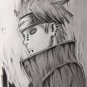 黑灰素描火影忍者纹身手稿图片