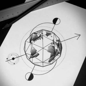 个性几何地球纹身手稿图片