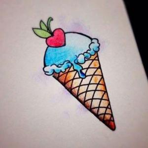 爱心樱桃蓝色冰淇淋纹身手稿图片
