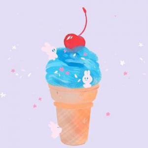 蓝色樱桃冰淇淋纹身手稿图片