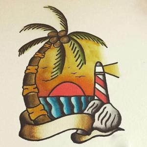 old school椰树灯塔纹身手稿图片