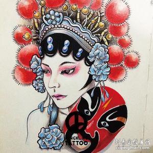 手绘·中国风脸谱花旦纹身手稿图片