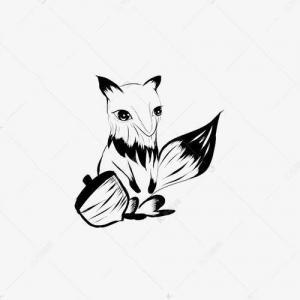 黑白松鼠纹身手稿图片