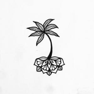 线条椰树纹身手稿图片